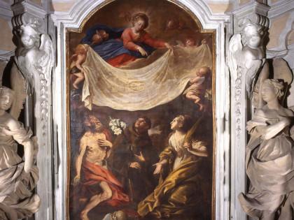 <B>S. MICHELE DI MONDOVI&#8217;. <I>La Vergine offre la Sindone a Santi</I>, di Domenico Guidobono. </B>